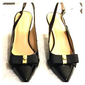 Black Slingback Pumps with Ribbon Accent